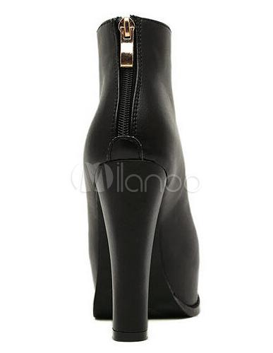 bottines femme talon pais en pu noir avec zip devant plateforme. Black Bedroom Furniture Sets. Home Design Ideas
