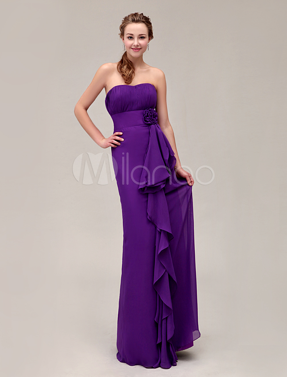 Gorgeous Strapless Floor-Length Pleated Chiffon Bridesmaid Dress With Flower