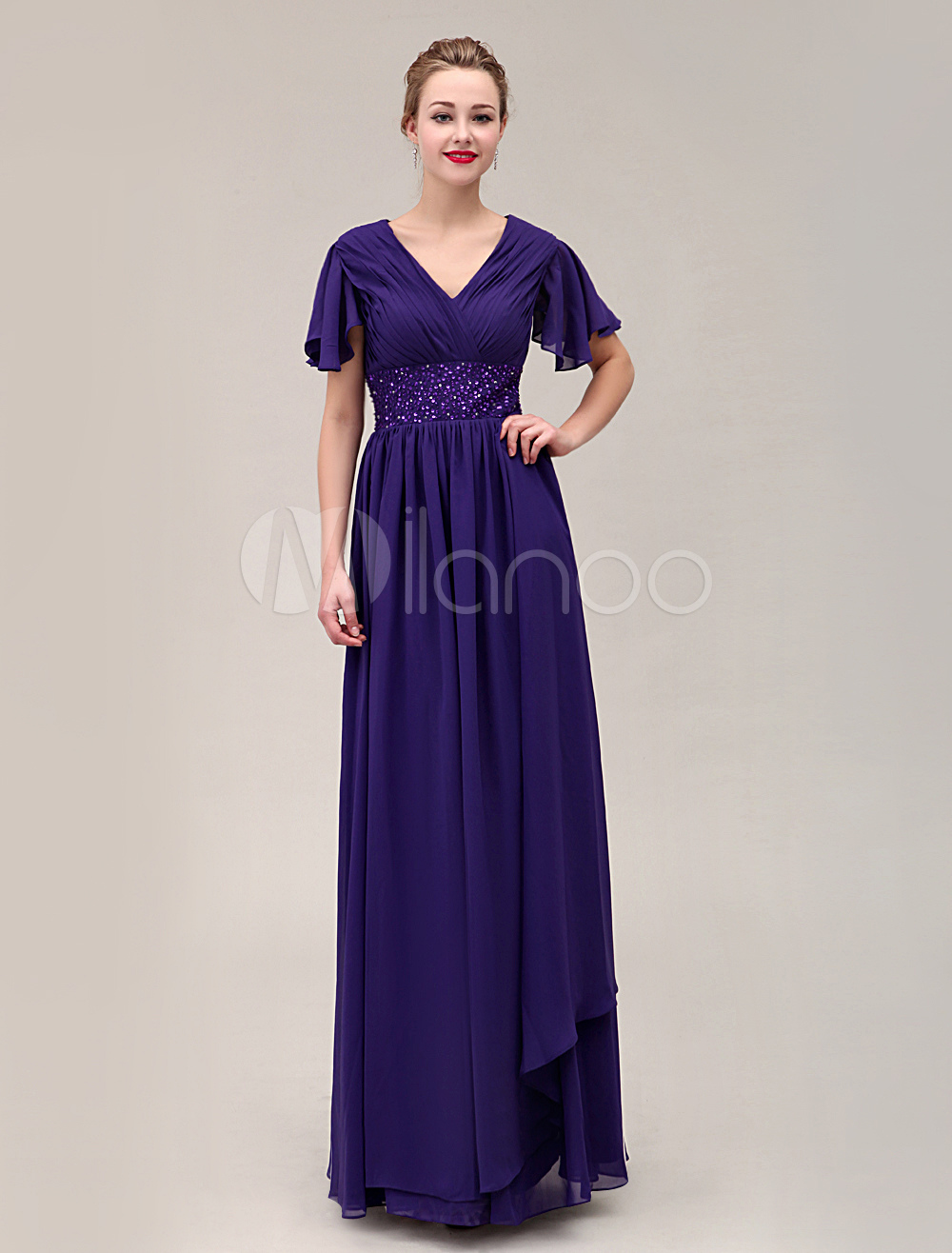 Beading Deep V-Neck Floor-Length Chiffon Dress For Mother Of The Bride With Butterfly Sleeves $129.99 AT vintagedancer.com