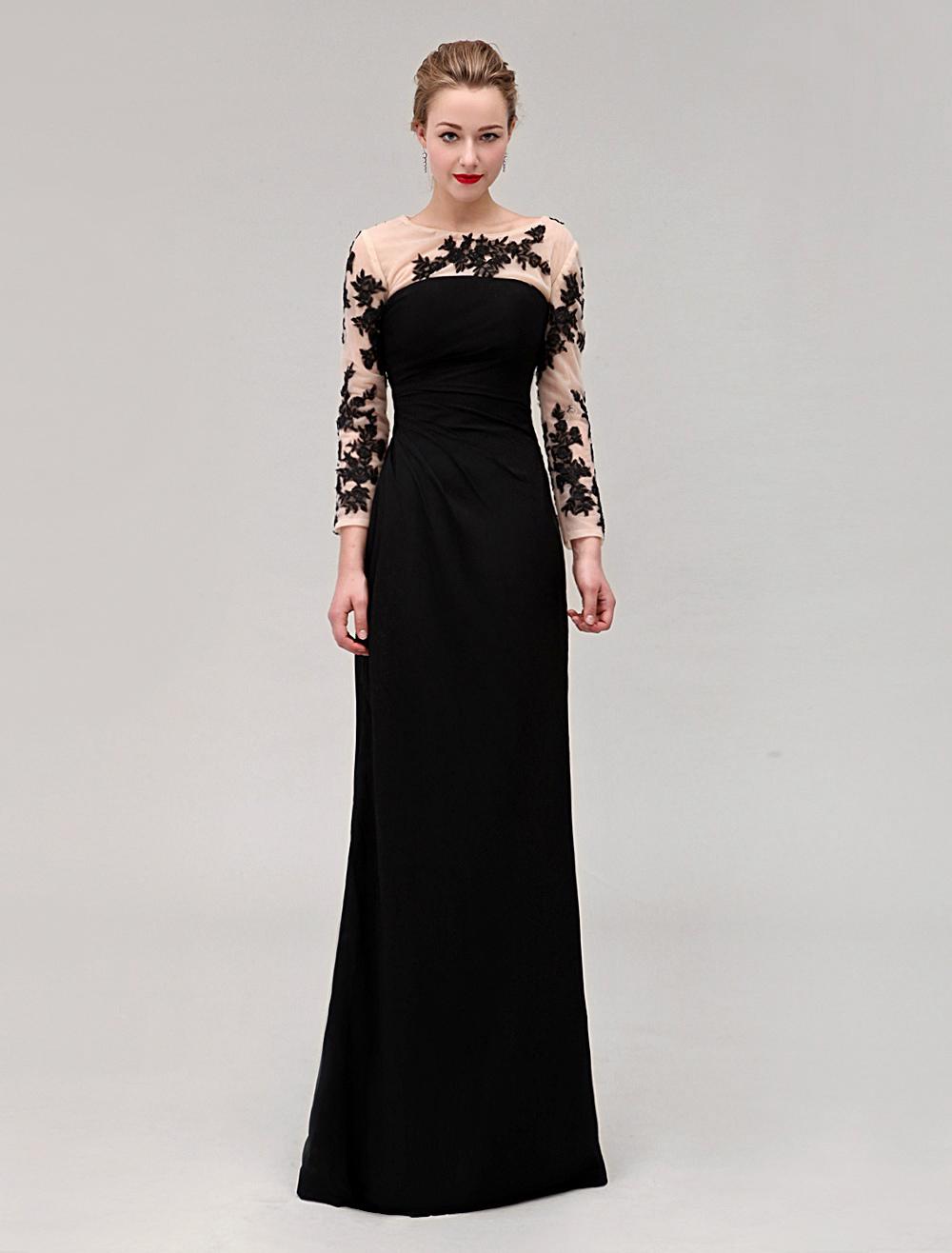 Black Wedding Dress Jewel Neck Pleated Floor-length Elastic Silk Dress