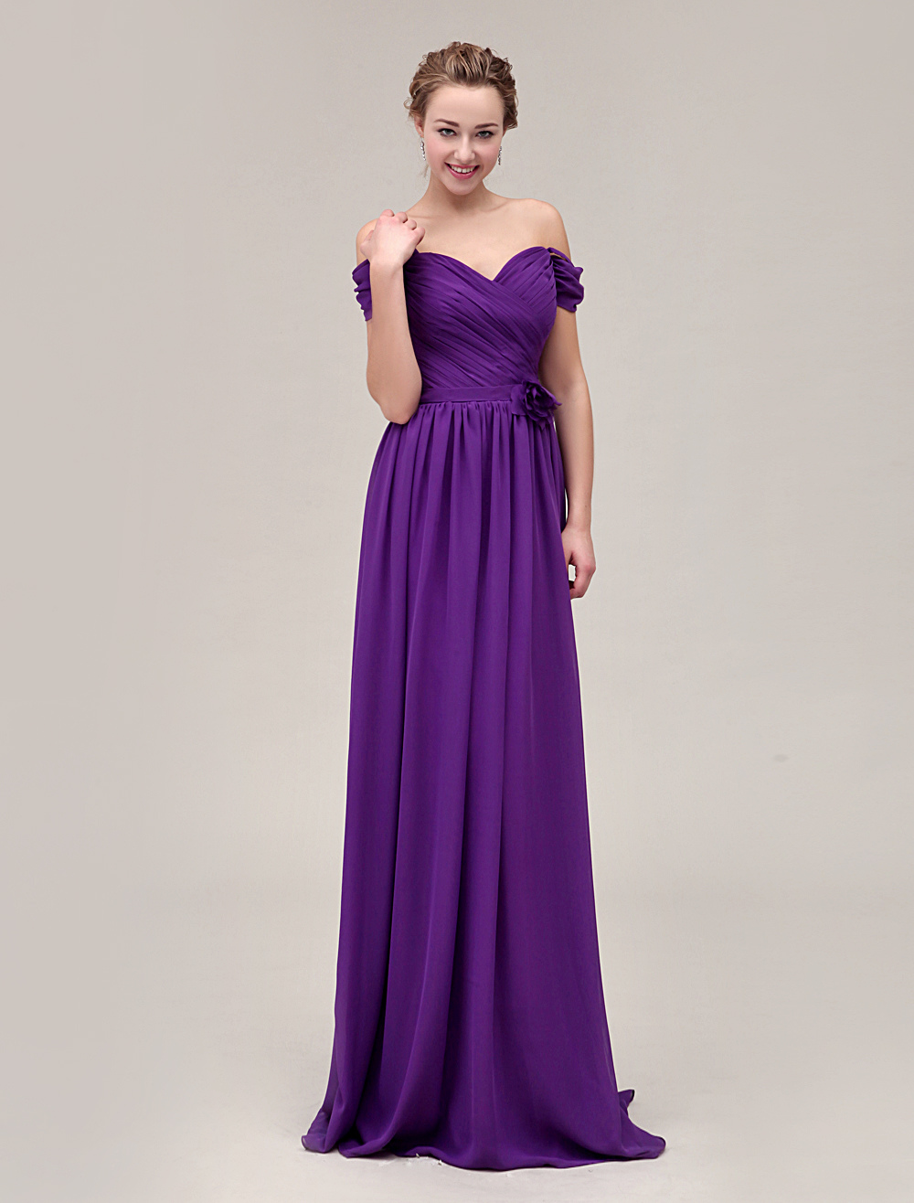 Gorgeous V-Neck Floor-Length Pleated Chiffon Bridesmaid Dress With Flower