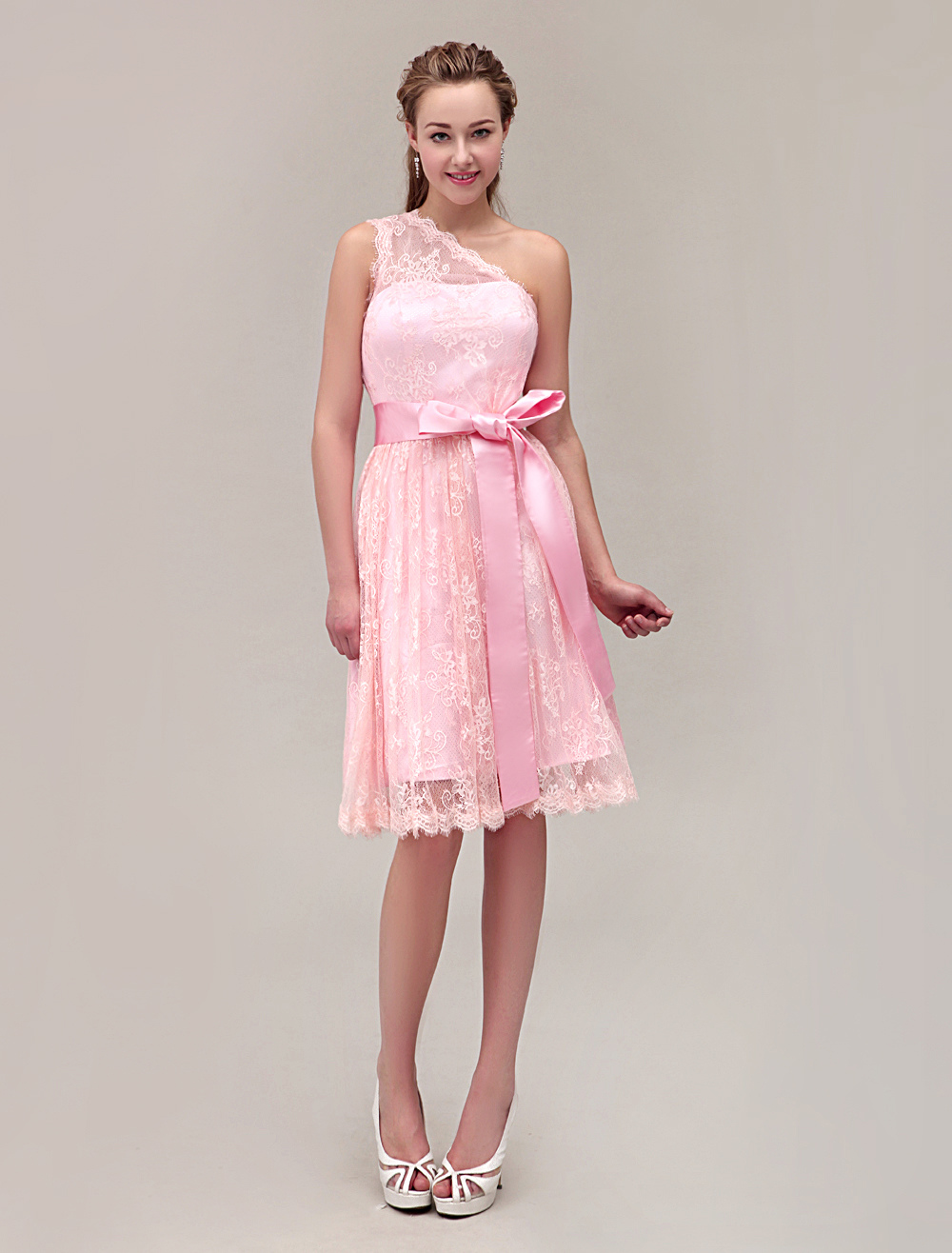 One-Shoulder Knee-Length Lace Bridesmaid Dress With Belt