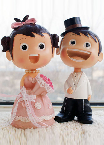 Asian Figurine Classic Couple Wedding Cake Toppers
