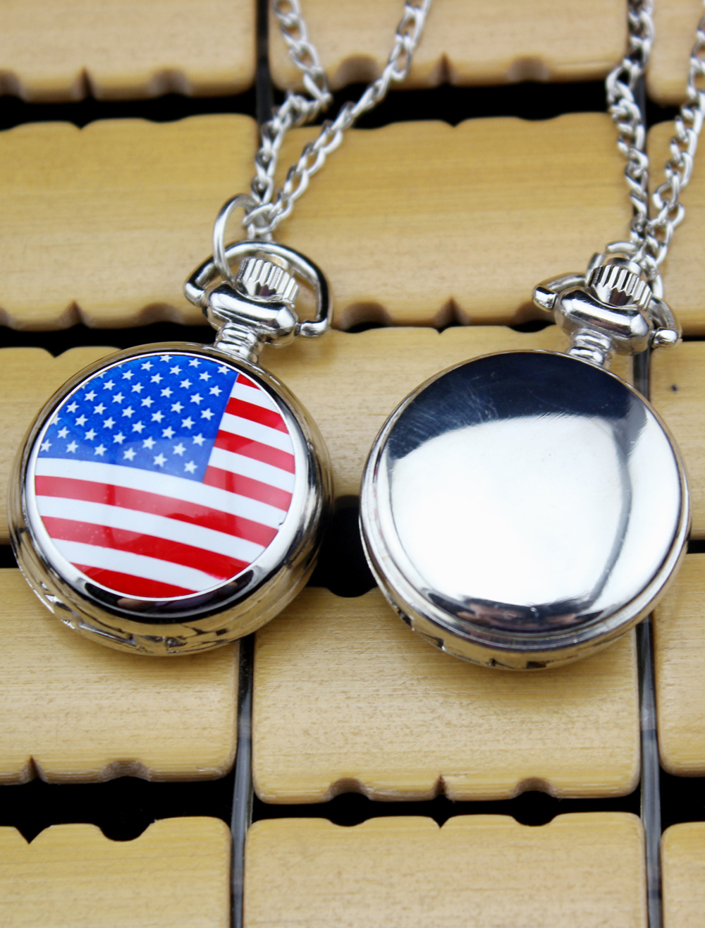 Fashion Personalized Flag Pattern Wedding Pocket Watch With Mirror