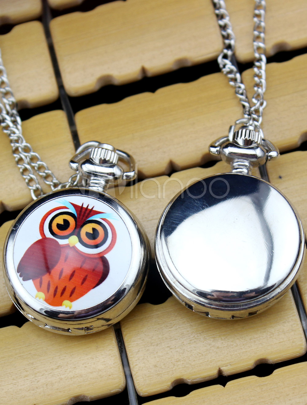 Metal Wedding Personalized Owl Pattern Pocket Watch With Mirror