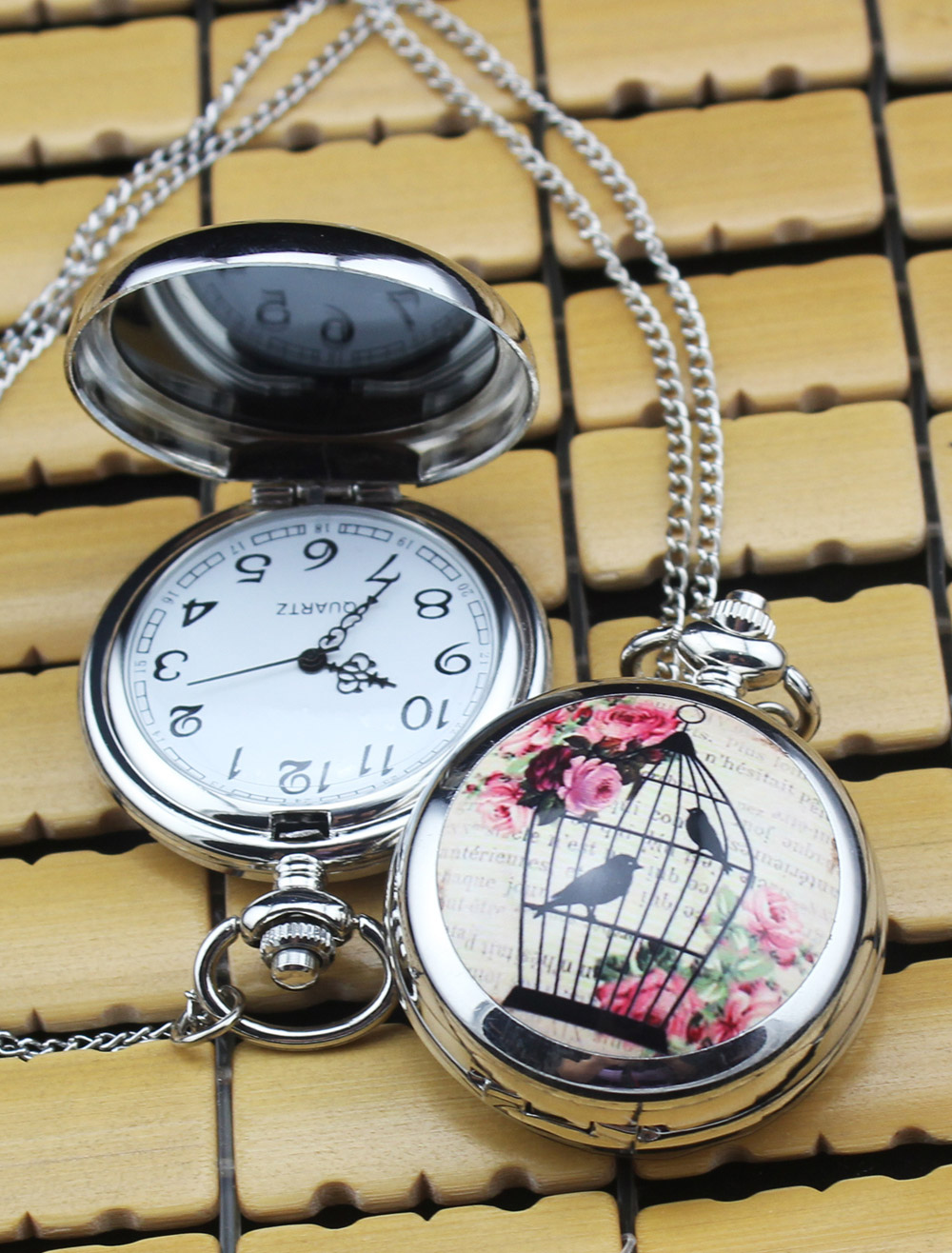 Vintage Personalized Wedding Pocket Watch With Mirror