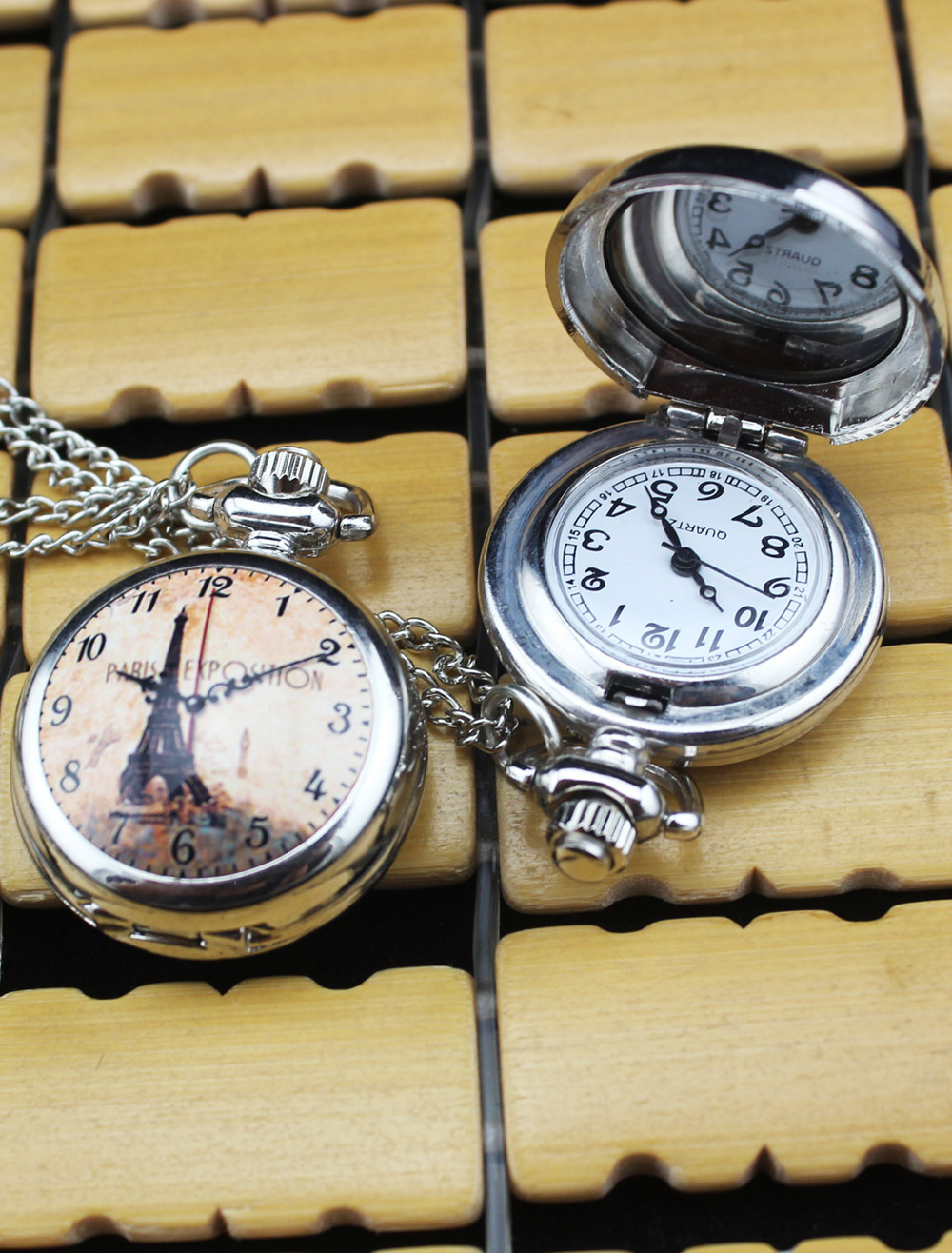 Chic Wedding Personalized Eiffel Tower Pocket Watch