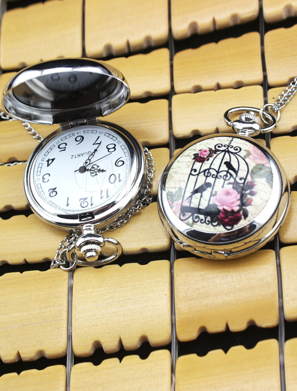 Vintage Ceramic Personalized Wedding Pocket Watch With Mirror