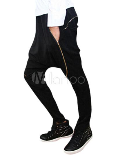 Pantalons homme chic sarouel en coton mélangé noir unicolore avec zip,No.1