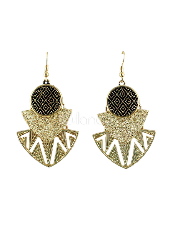 Vintage Metal Cut Out Geometric Dangle Earrings For Women