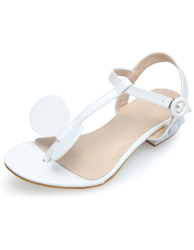 sandale bride en t blanche talon petit pais avec n ud. Black Bedroom Furniture Sets. Home Design Ideas