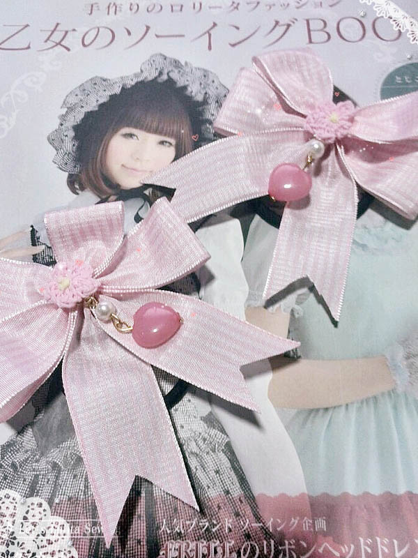 Pink Bow Polyester High Quality Lolita Hair Bands