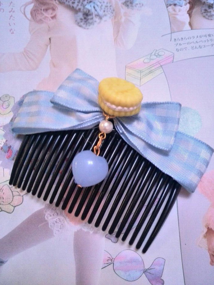 Light Skyblue Fantastic Polyester Lolita Bowknot Comb