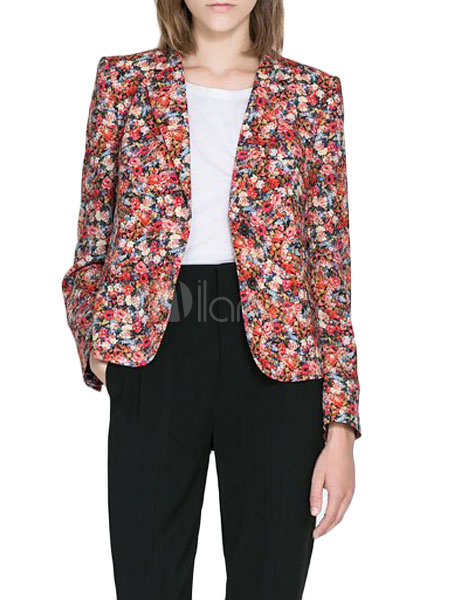blazer femme multicolore en coton m lang imprim fleuri avec passepoil. Black Bedroom Furniture Sets. Home Design Ideas
