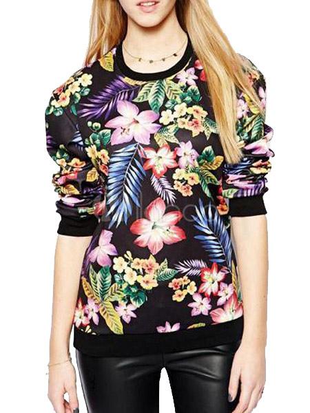 pull sportwear femme en coton multicolore imprim fleuri surdimensionn. Black Bedroom Furniture Sets. Home Design Ideas