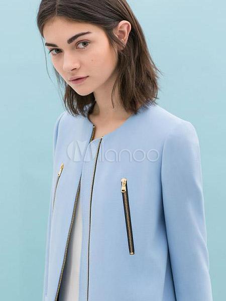 manteau en fibre de coton bleu clair avec zip. Black Bedroom Furniture Sets. Home Design Ideas