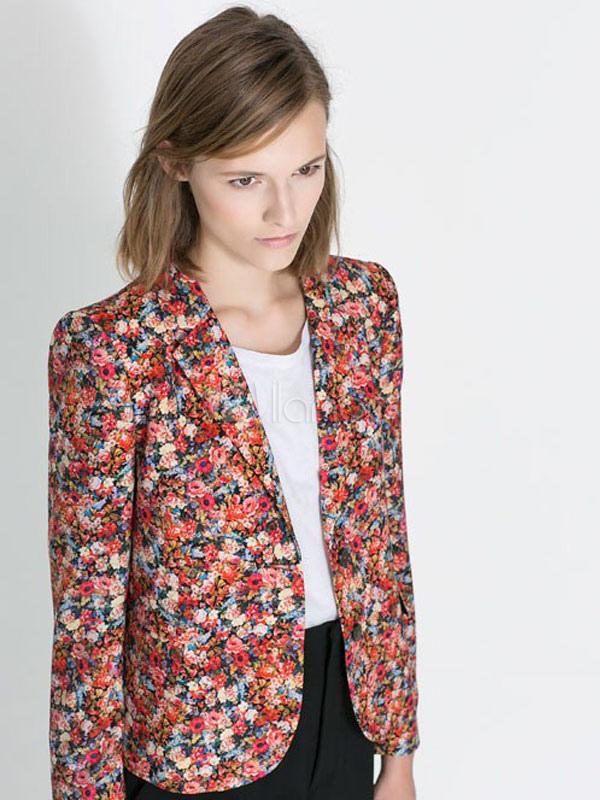 blazer femme multicolore en coton m lang imprim fleuri. Black Bedroom Furniture Sets. Home Design Ideas