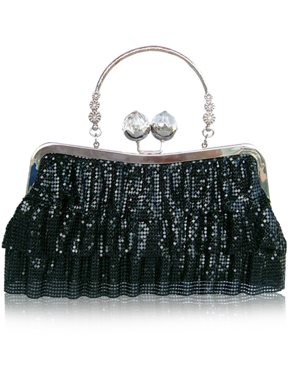 Vintage Metallic Sequined Rhinestone Woman's Evening Bag
