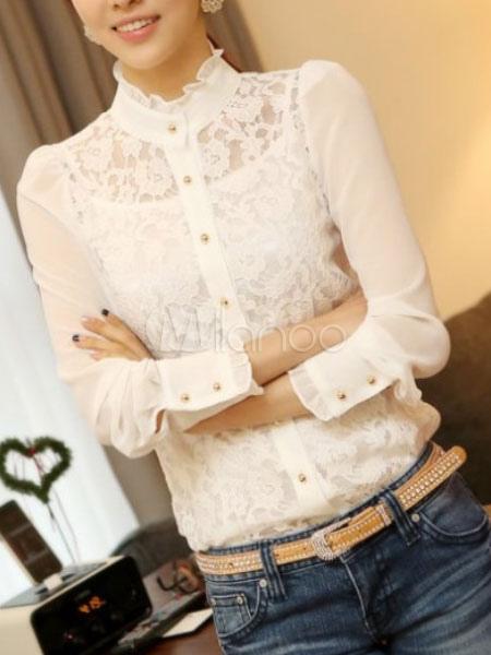 blouse femme blanche unicolore en patchwork avec dentelle et col montant. Black Bedroom Furniture Sets. Home Design Ideas
