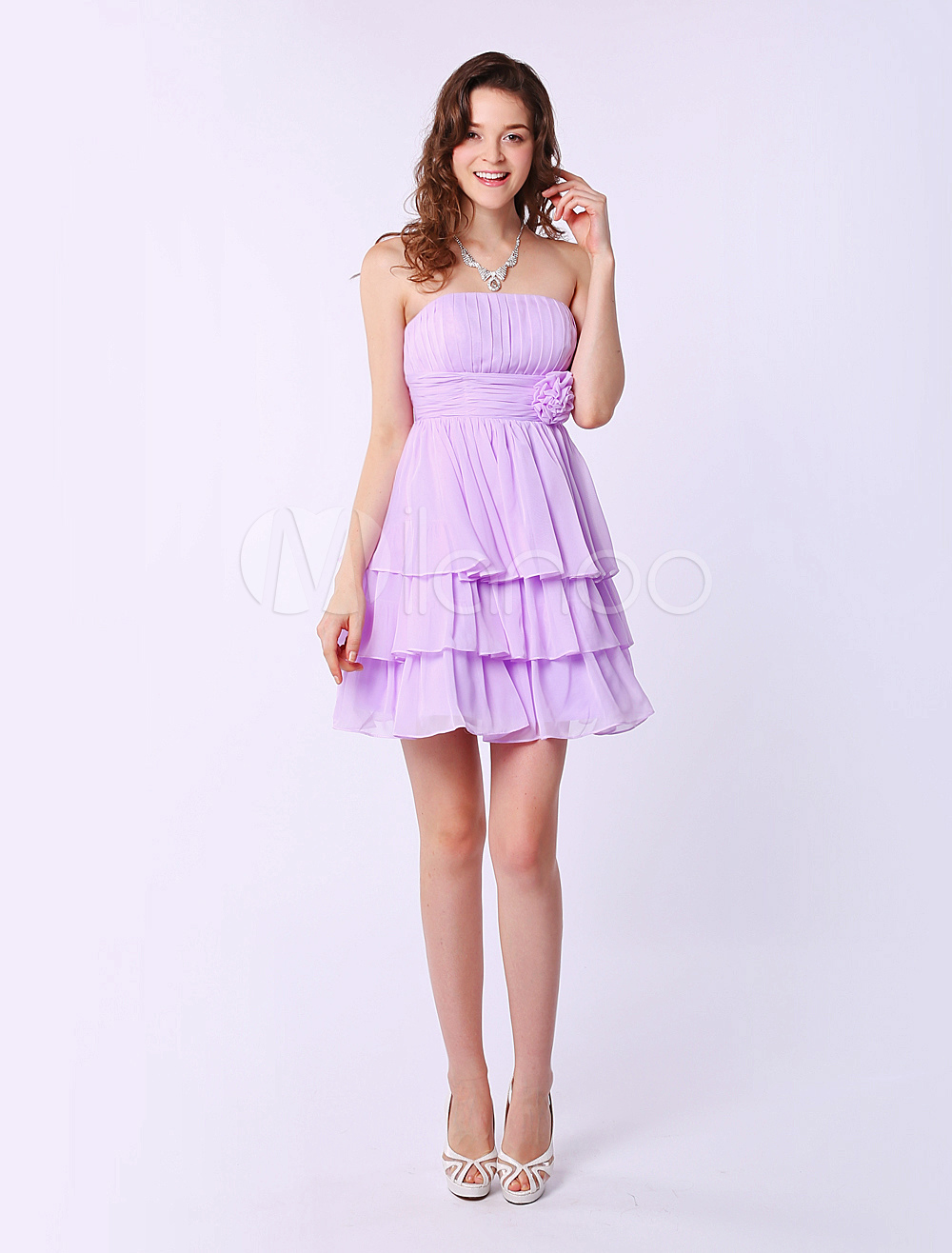 Short Strapless Bridesmaid Dress With Tiered Chiffon