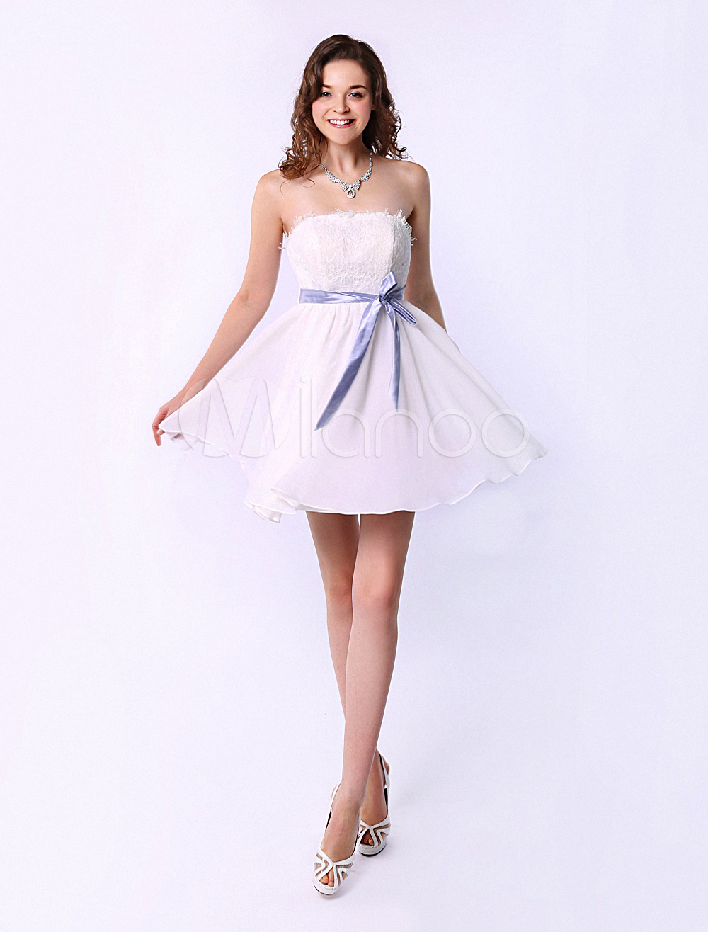 Strapless Short Bridesmaid Dress With Bows Detailing