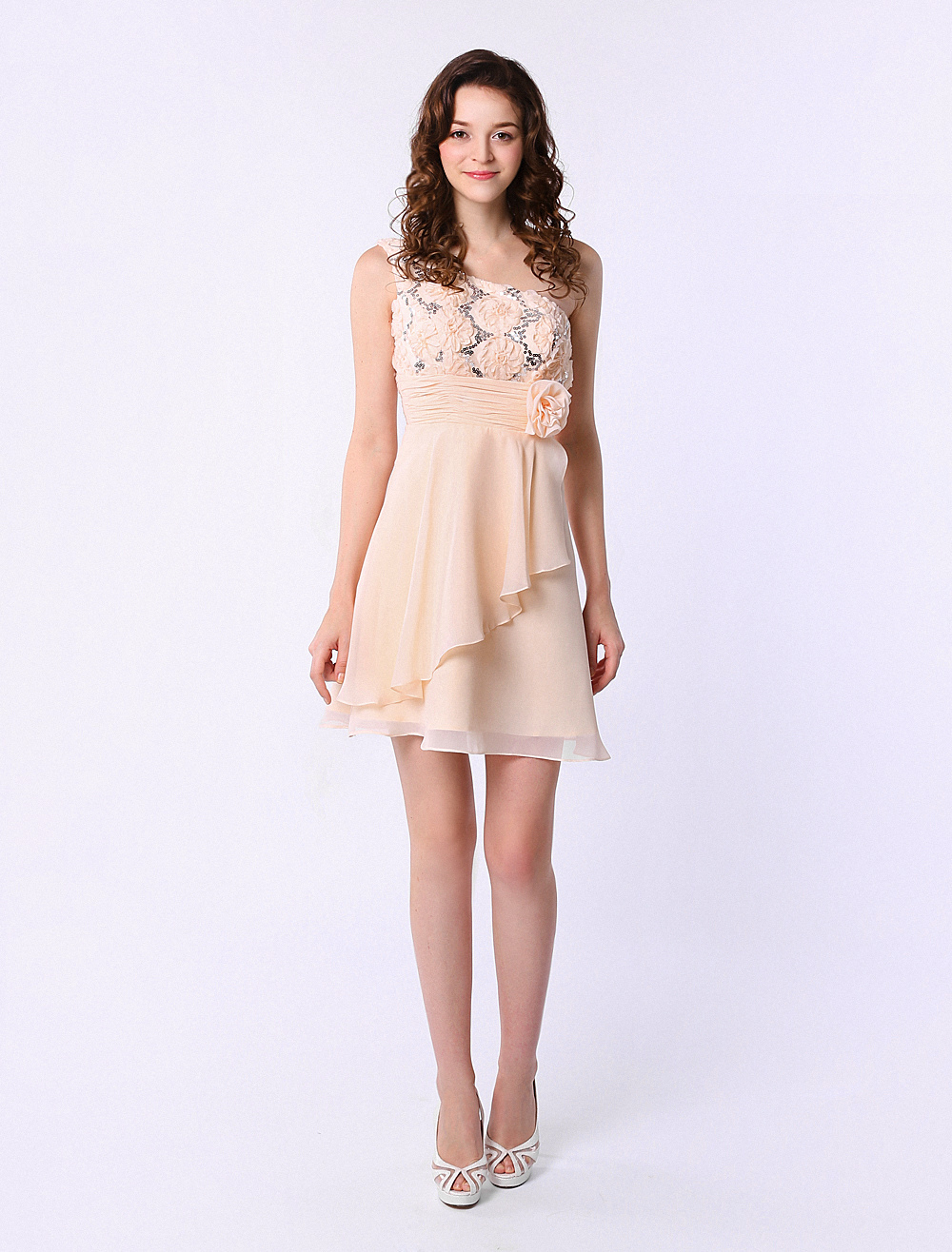 Short Chiffon Dress For Bridesmaid With Cascading Ruffles