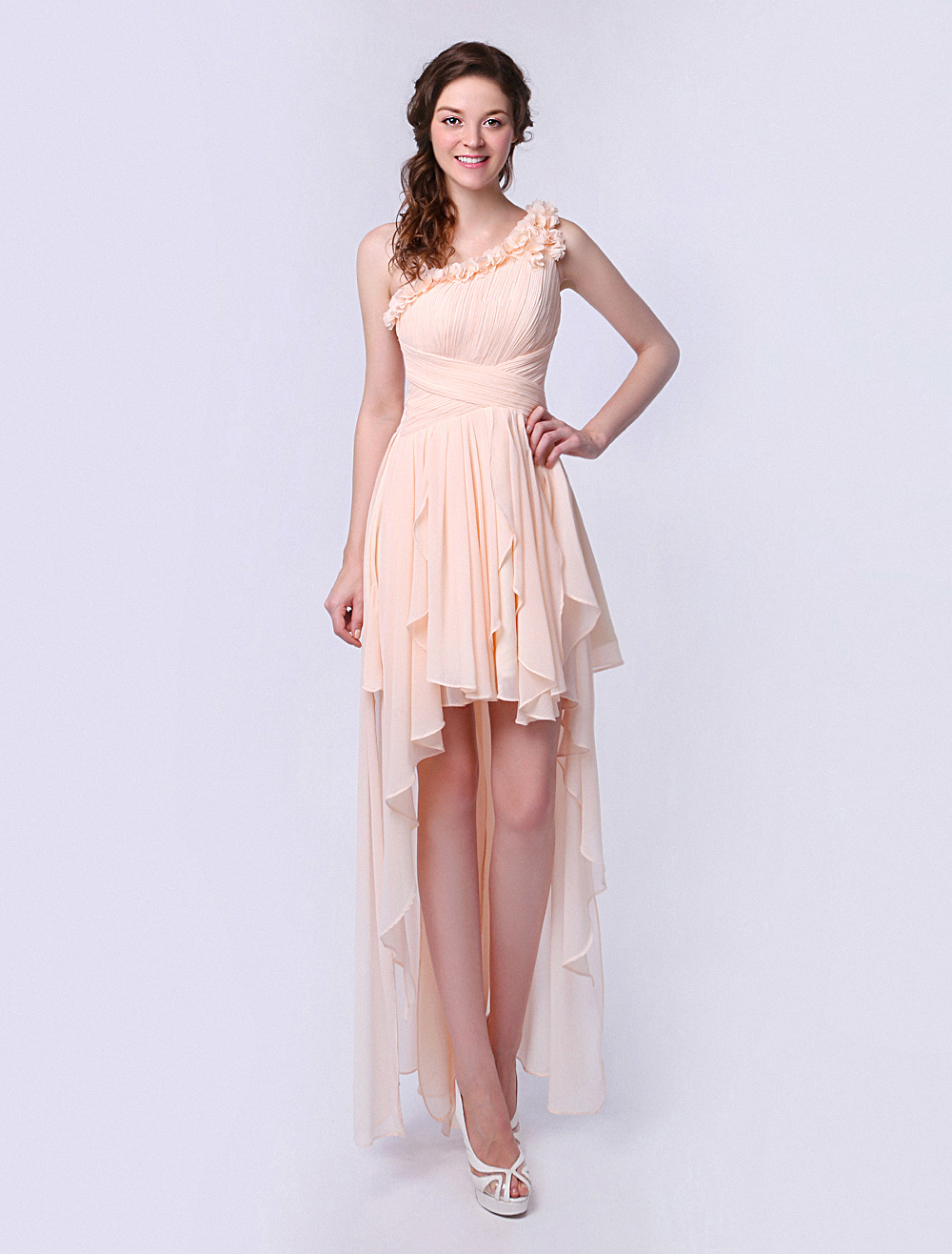 Chiffon Bridesmaid Dress With Ruffled One-Shoulder