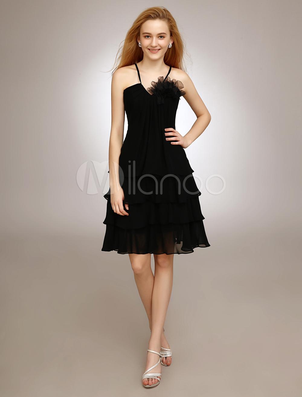 Black V-Neck Bridesmaid Dress With Tiered Chiffon (Wedding Bridesmaid Dresses) photo