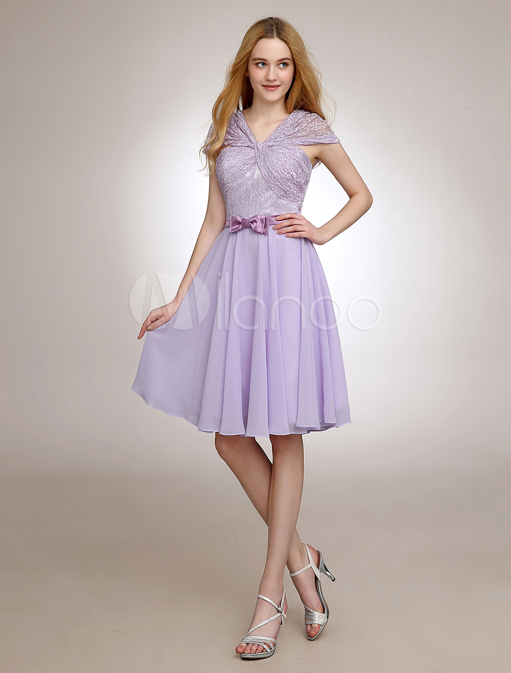 Short Lace Bridesmaid Dress With Off-The-Shoulder & Bow Decor