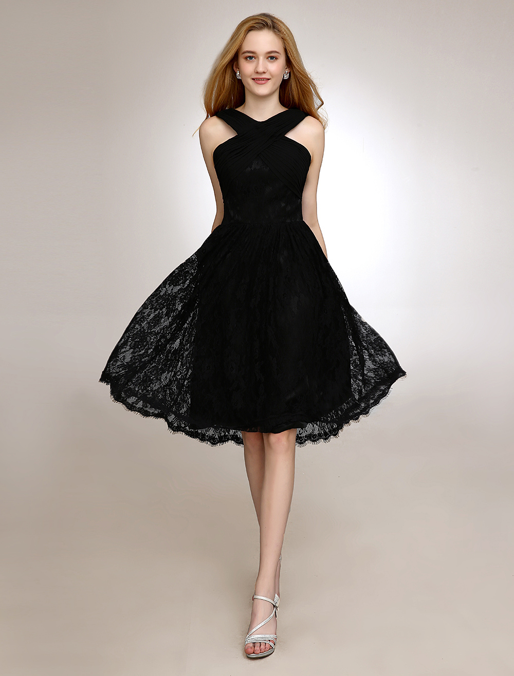 Halter Black Bridesmaid Dress With Lace In Knee Length (Wedding Bridesmaid Dresses) photo