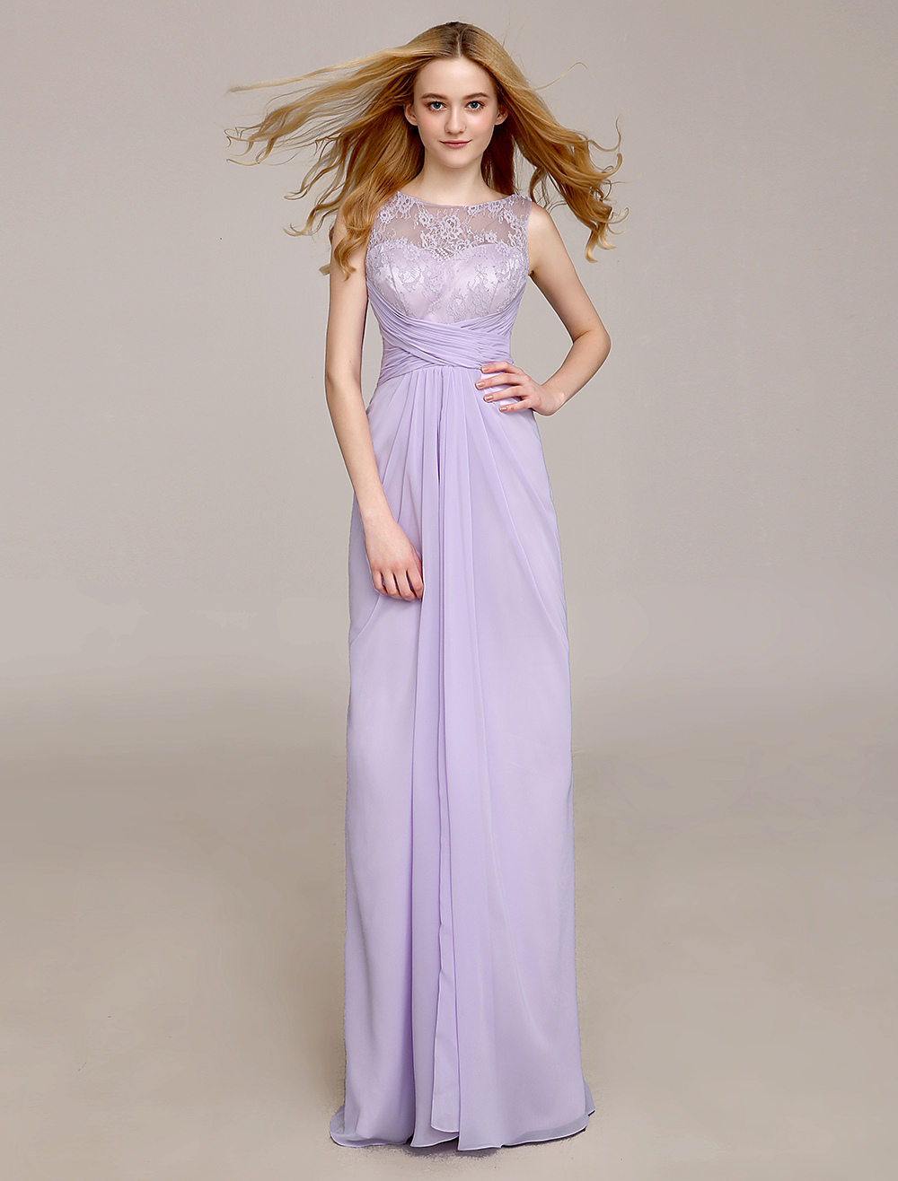 Jewel Neck Bridesmaid Dress With Draped Sheath Milanoo