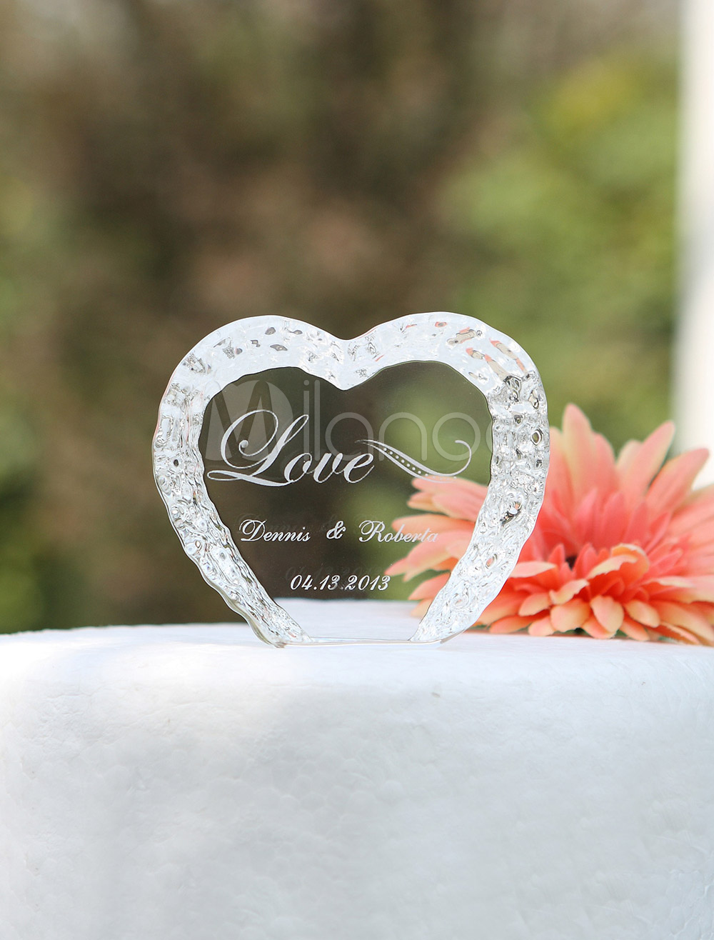 Personalized Love & Heart Wedding Cake Topper