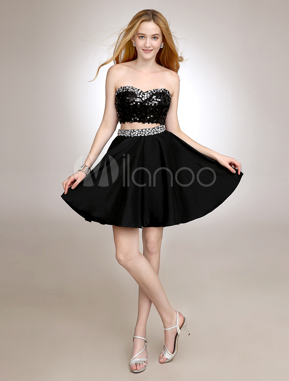 Black Short Homecoming Dress With Sequins (Wedding Cheap Party Dress) photo