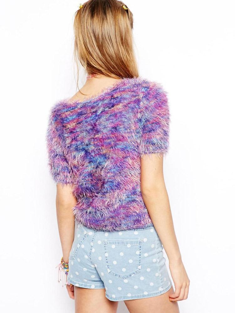 pull femme violet color tricot moulant manches courtes. Black Bedroom Furniture Sets. Home Design Ideas