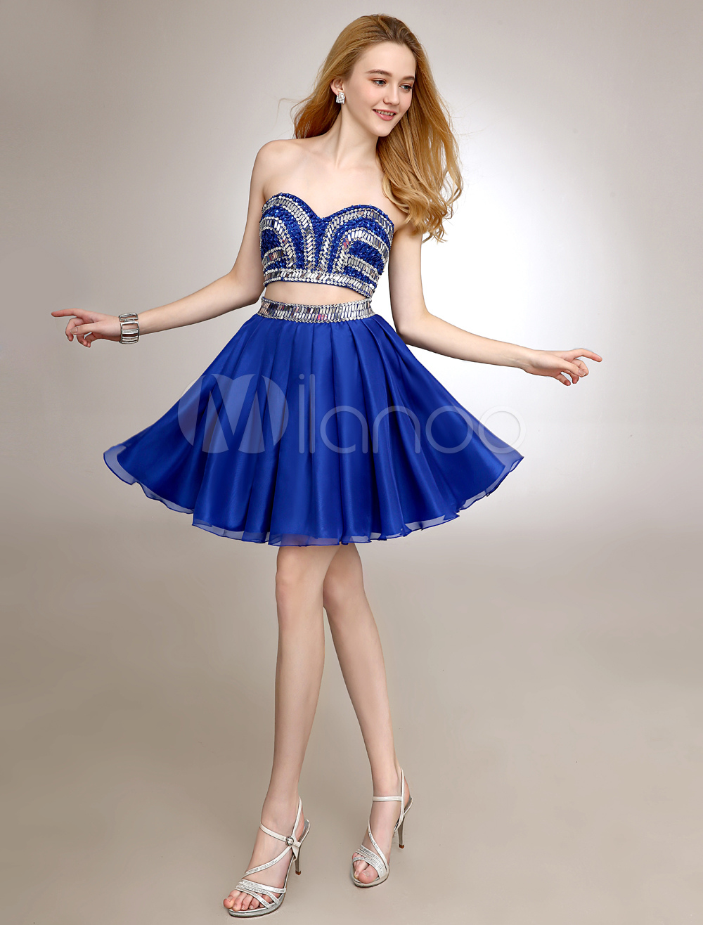Royal Blue Short Homecoming Dress With Sequined Chiffon (Wedding) photo