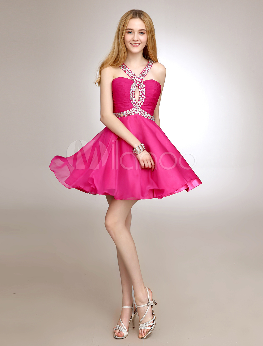 Short Halter Homecoming Dress With Cut Out Chiffon (Wedding) photo