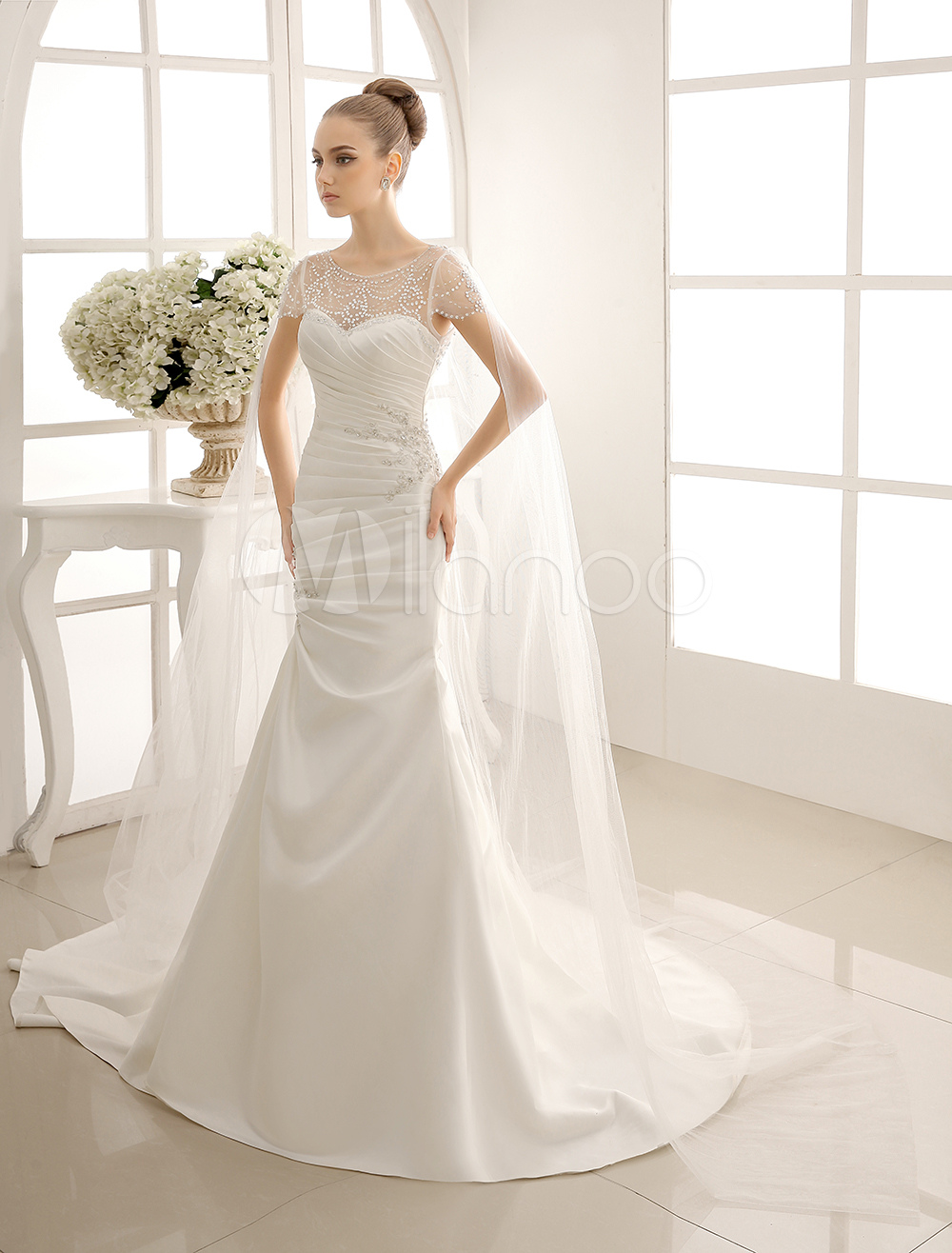 exquisite beaded sheer neckline short sleeve wedding dress with translucent detachable cape milanoo p wedding dress with cape Exquisite Beaded Sheer Neckline Short Sleeve Wedding Dress with Translucent Detachable Cape Milanoo Milanoo com