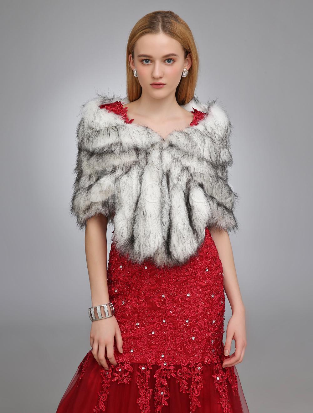 Black  White Wedding Shawl With Faux Fur $29.99 AT vintagedancer.com