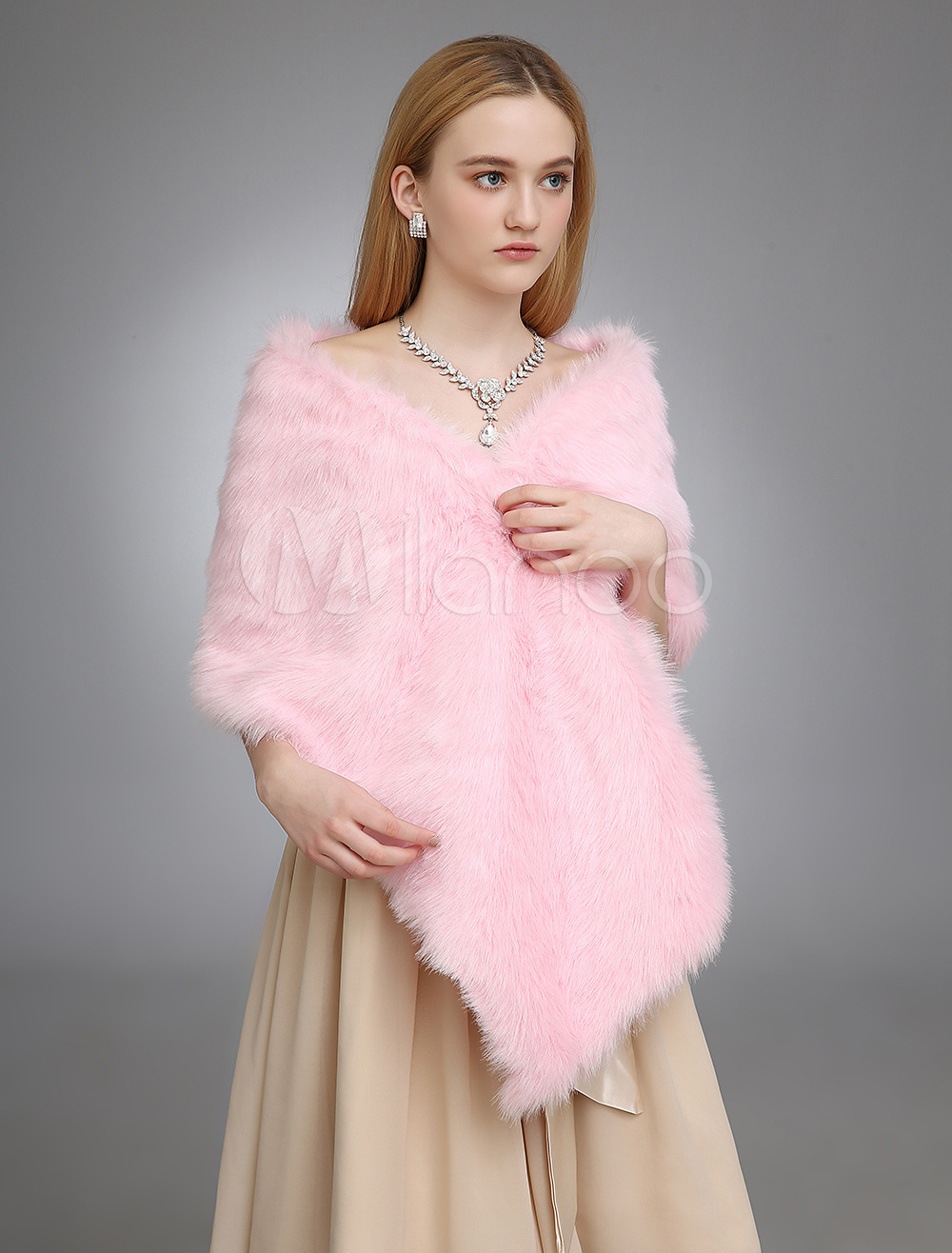 Pink Wedding Shawl With Faux Fur $29.99 AT vintagedancer.com