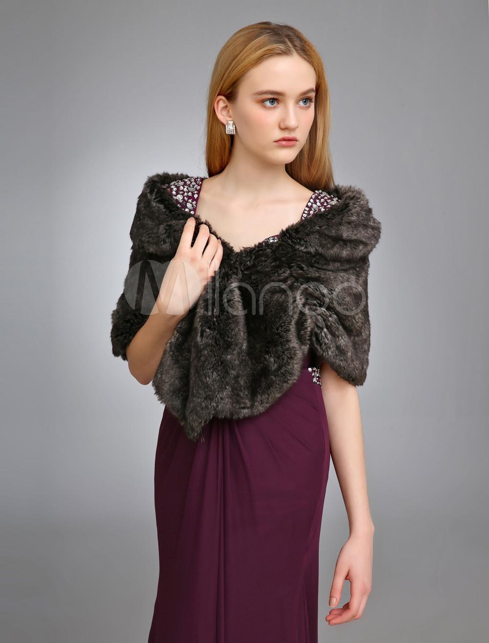 Black Wedding Shawl With Faux Fur $29.99 AT vintagedancer.com