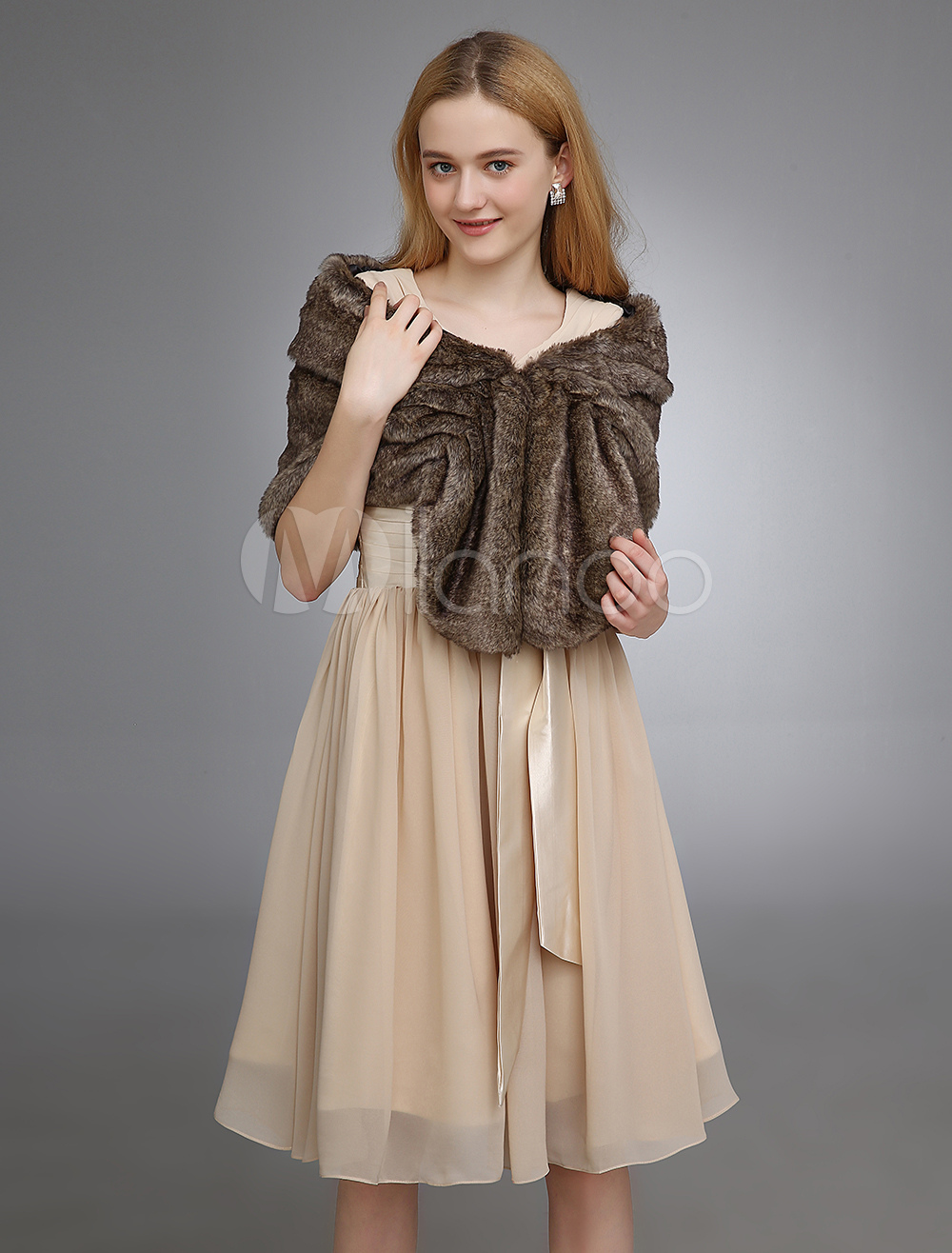 Deep Brown Wedding Shawl With Faux Fur $29.99 AT vintagedancer.com