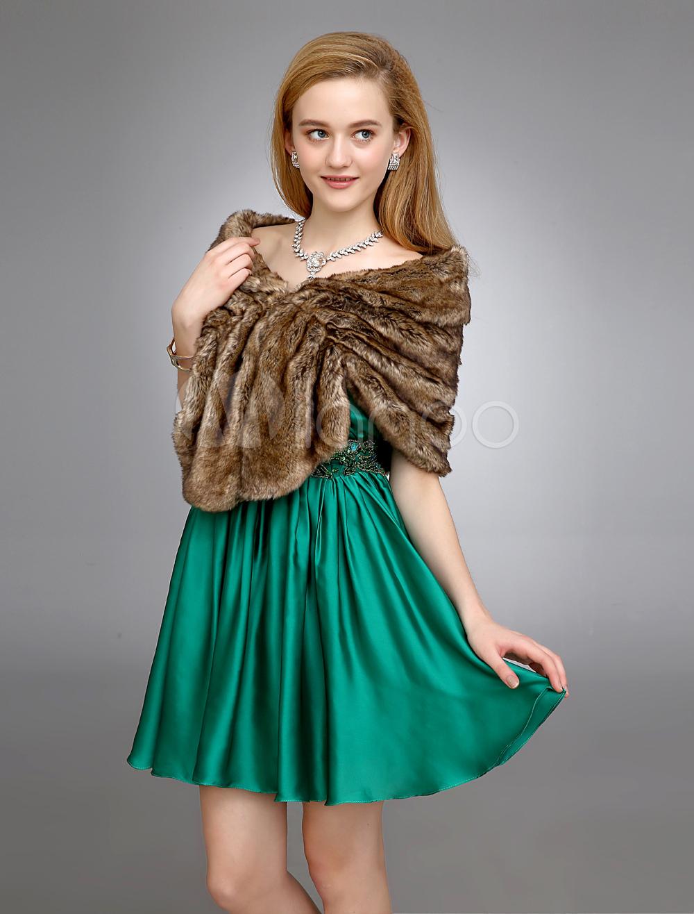 Brown Wedding Shawl With Faux Fur $29.99 AT vintagedancer.com
