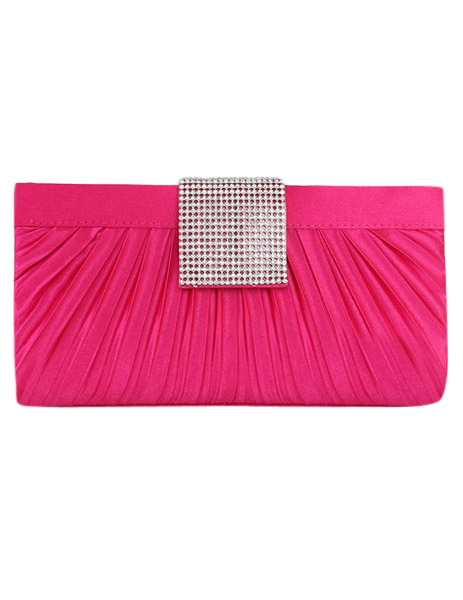 Rose Red Pleated Evening Bag