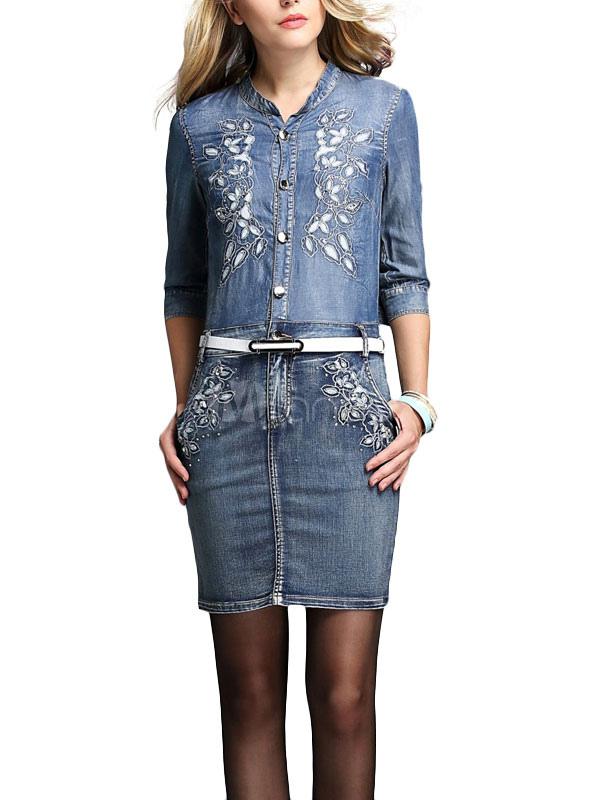 Beading & Embroidered Denim Mini Dress