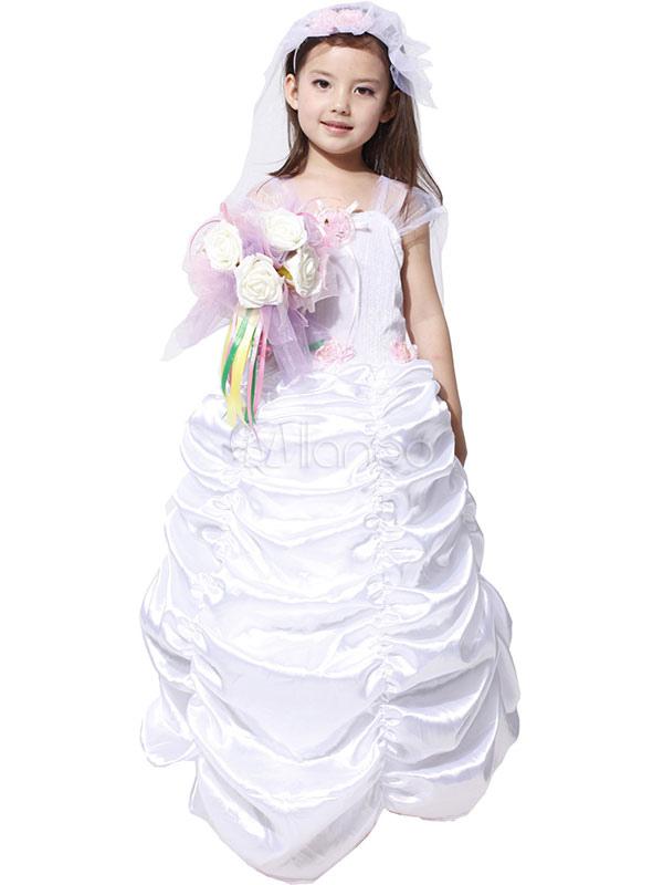 costume de mariage blanc pour fille en polyester. Black Bedroom Furniture Sets. Home Design Ideas