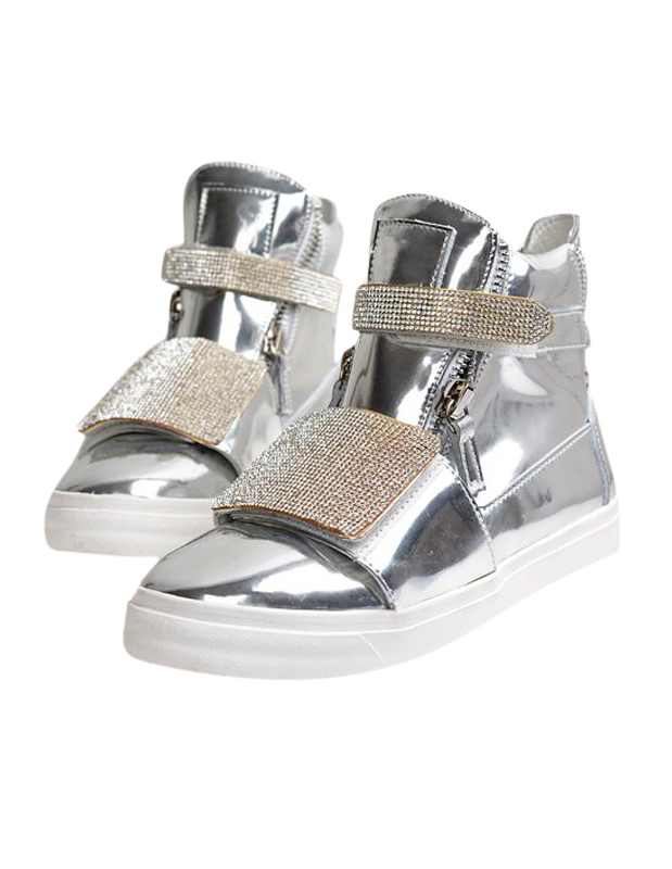 High-cut Sneakers With Rhinestone Buckle thumbnail
