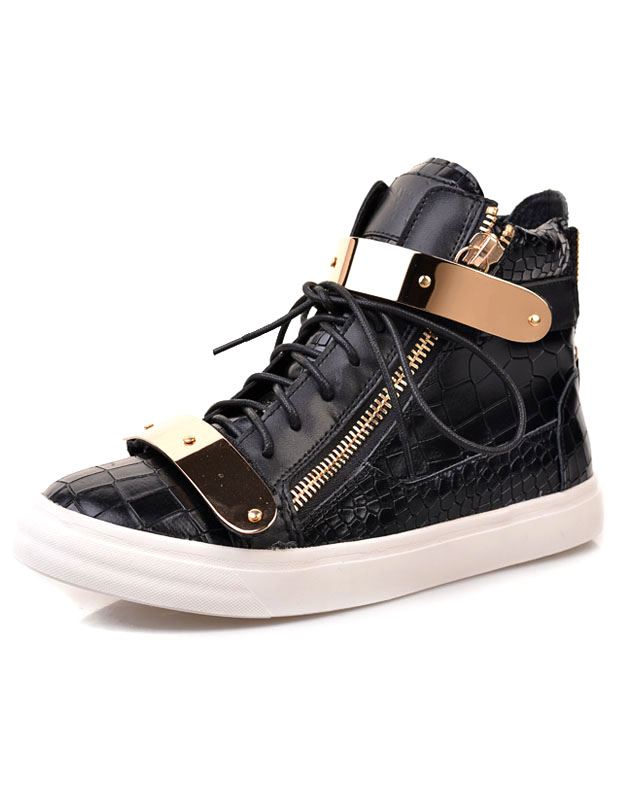 Cowhide High-cut Sneakers With Stone Pattern thumbnail