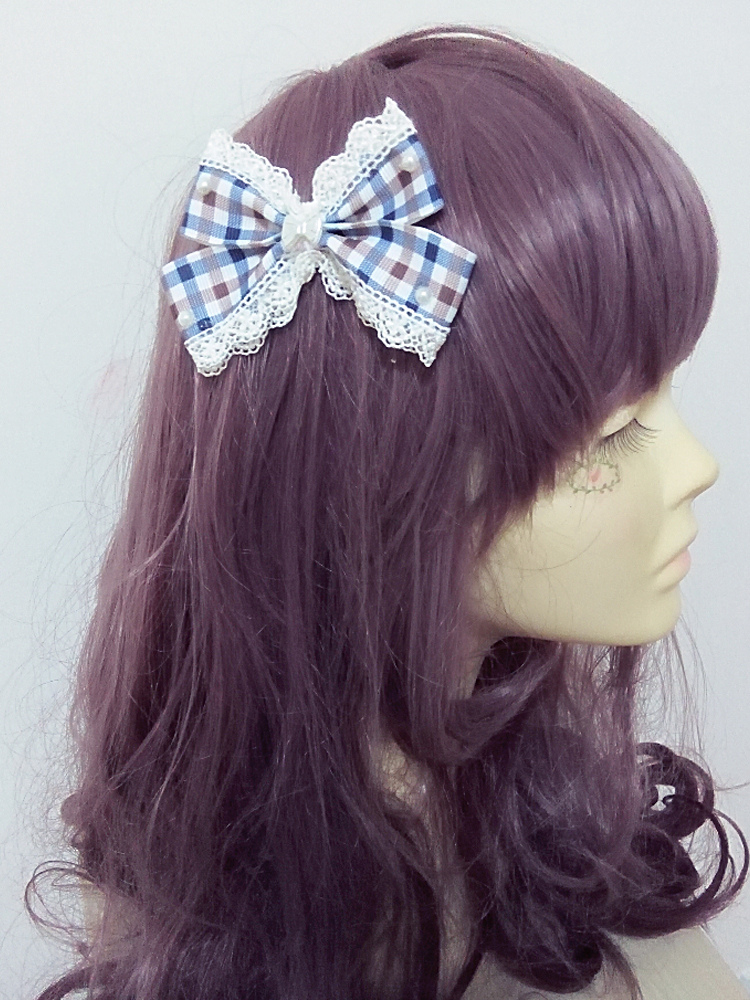 Hairpin With Plaid & Bow Pattern