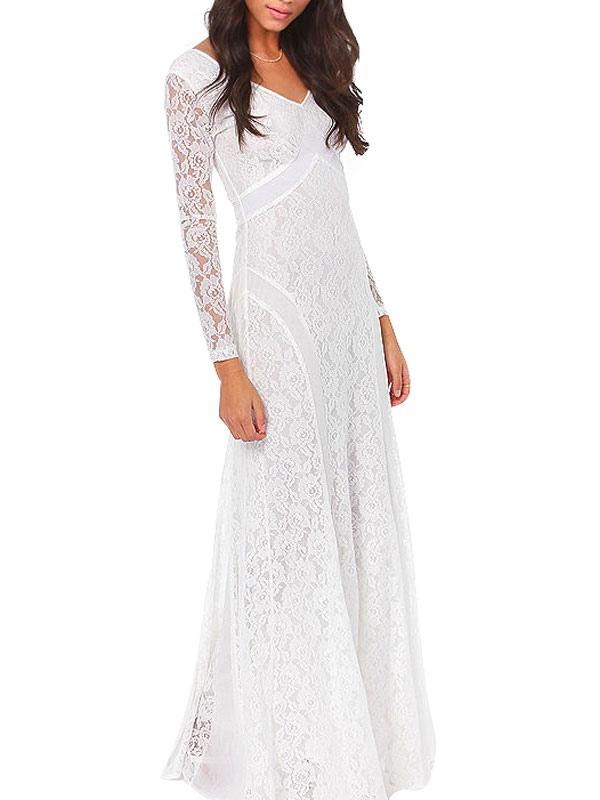 Long Sleeve Low Back Lace Maxi Dress $42.99 AT vintagedancer.com