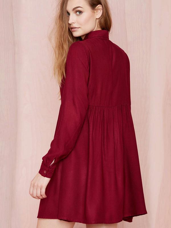 robe droite de chemise rouge manche longue. Black Bedroom Furniture Sets. Home Design Ideas